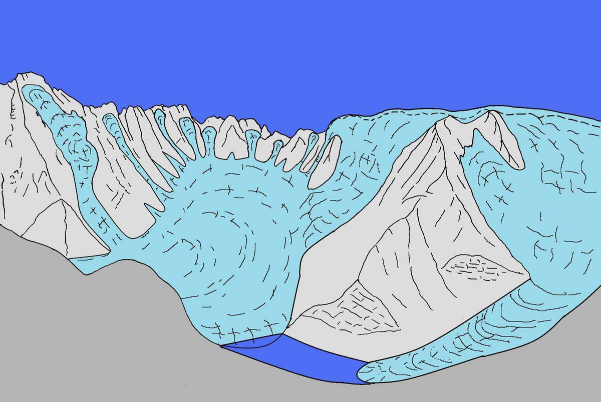 Hypothetical reconstruction of the ice-contact lake in Pont which originated thanks to the obstruction of Val Reiane by the main glacier of San Lucano (ill. DG).