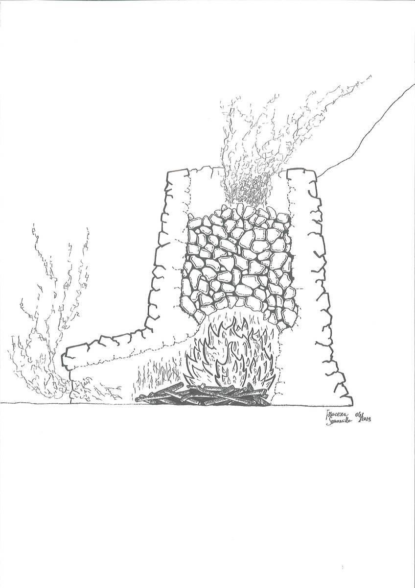 """Fornace in muratura tipo """"calchera"""" (dis. Francesca Sommavilla)."""