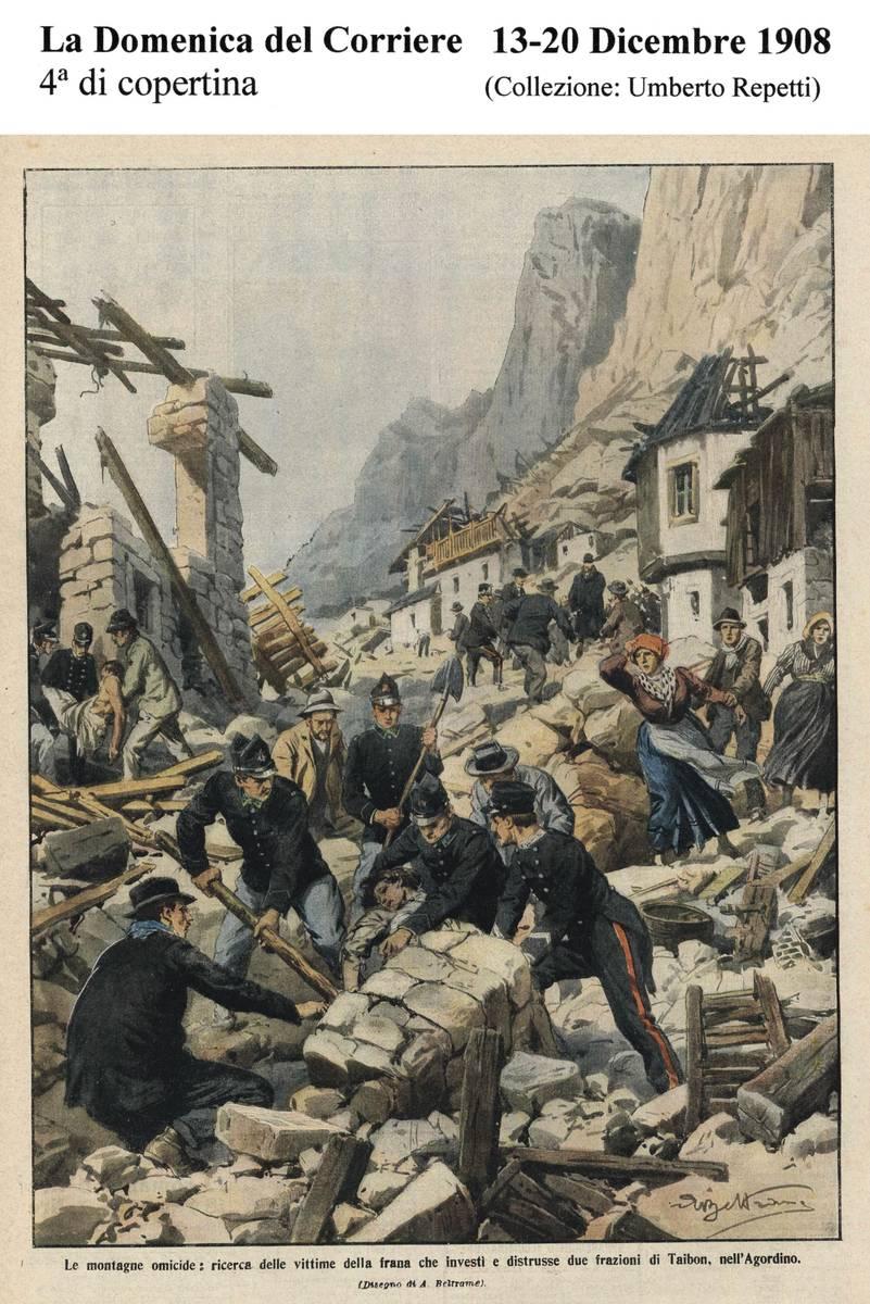 Quarta di copertina della Domenica del Corriere del 13-20 dicembre 1908 dove viene raffigurata, in un acquarello di Achille Beltrame, la tragedia di Prà e Lagunàz (collezione Umberto Repetti).