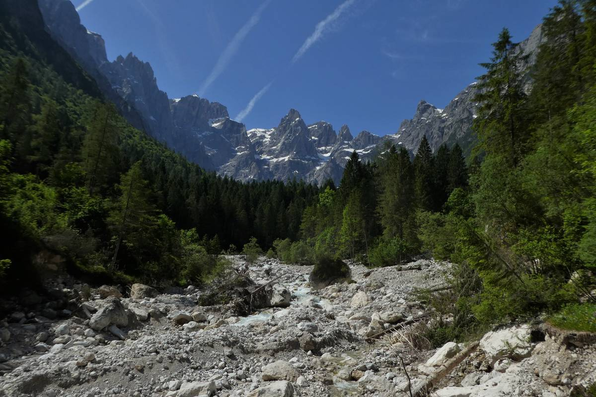 La Val d'Angheràz dalla sorgente i Polver. In primo piano il greto del Tegnàs, disseminato di chiari massi di dolomia (foto D.G.).