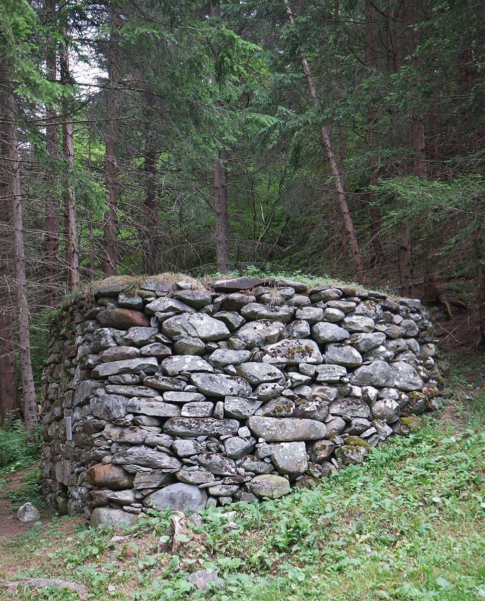 Field lime kiln built of layered quarry stones on the banks of the Kalserbach
