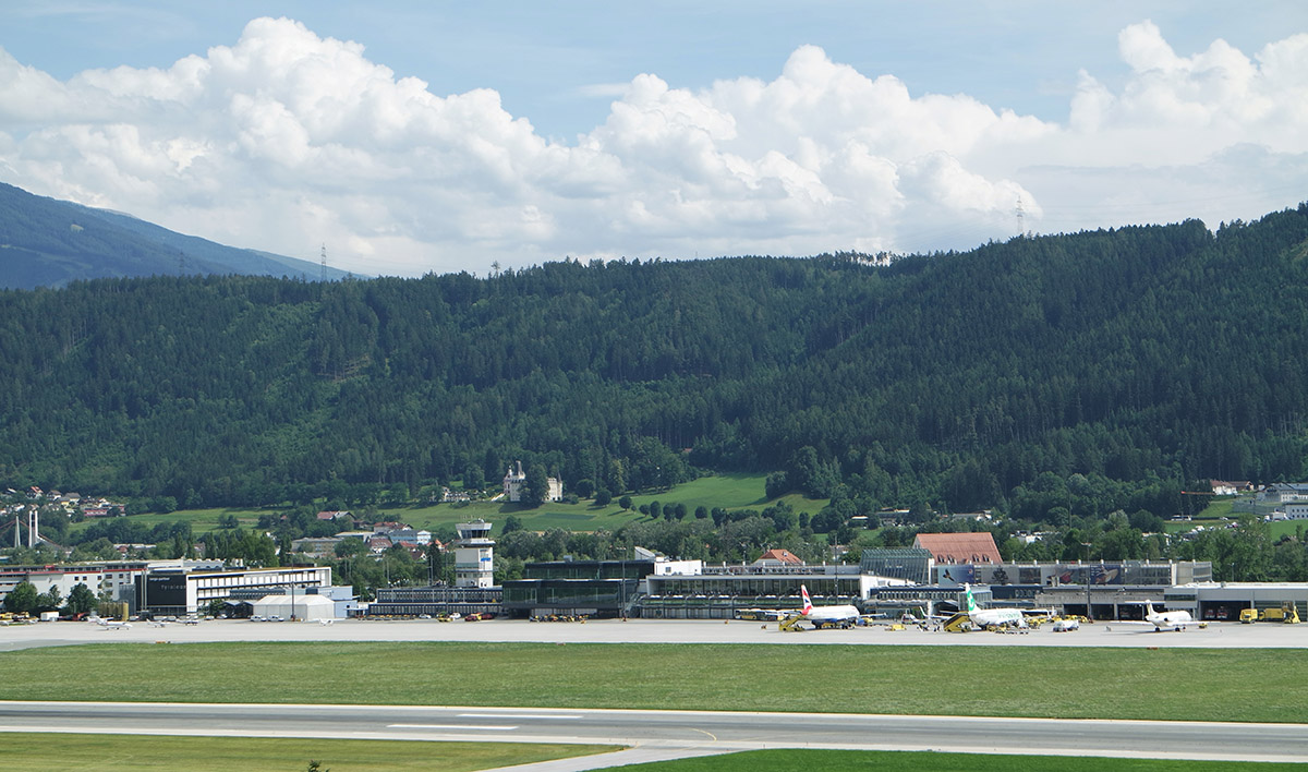 Innsbruck airport with dolomite rock as aggregate for the asphalt surface on its runway.