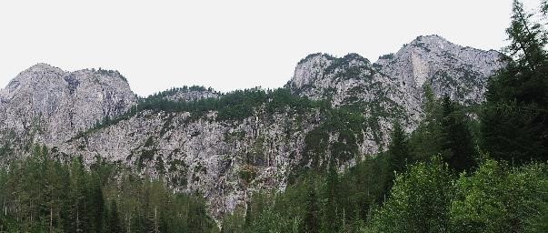 Freestanding rocks of the Carnic Alps made of dolomite at the end of Winklertal.
